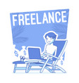 freelance happy man lineart concept vector image vector image