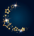 golden shiny stars on a blue background vector image vector image