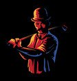 golf player logo stamp or golfer man figure vector image vector image