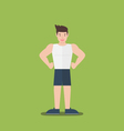 gym fitness muscular cartoon man standing flat vector image