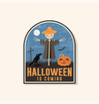 halloween is coming patch halloween badge vector image
