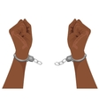 hands of african american man breaking handcuffs vector image