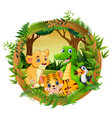happy animals in frame forest vector image vector image