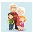 happy grandparents with grandchildren on blue vector image vector image