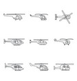 helicopter military icons set outline style vector image