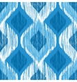Ikat ethnic seamless pattern in blue and white vector image