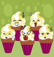 kawaii cupcakes vector image vector image