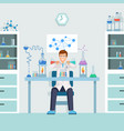 lab worker doing test male vector image vector image