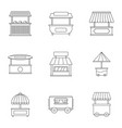market stall icon set outline style vector image vector image