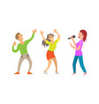 partying people having fun lady with microphone vector image vector image