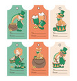 patricks labels saint patrick day cartoon vector image