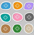 Plus icon symbols Multicolored paper stickers vector image