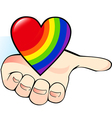Rainbow heart in the palm vector image