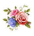 realistic rose bouquet leaves pattern vector image vector image