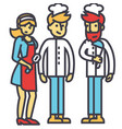 restaurant team kitchen workers waiter cooker vector image
