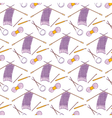 Seamless pattern of knitting and crafts icons on vector image vector image