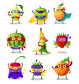 set funny superhero humanized characters fruit vector image vector image