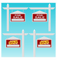 set of house for sale sign vector image vector image