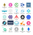 set of logos of popular cryptocurrency vector image
