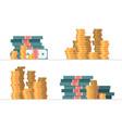 set piles money vector image vector image