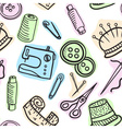 Sewing seamless pattern - hand drawn vector image vector image