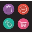 Shopping flat linear icons set vector image