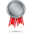 silver medal with red ribbon vector image vector image