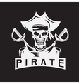skull captain pirate in hat with swords design vector image vector image