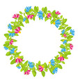 spring floral wreath with red and blue blooms vector image vector image