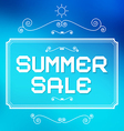 Summer Sale Paper Title on Abstract Blue vector image