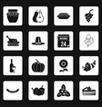 thanksgiving icons set squares vector image vector image