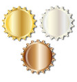 three bright metal bottle caps vector image vector image