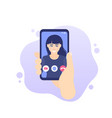 video call smart phone in hand icon vector image