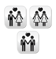 Wedding married hetero and gay couple buttons vector image
