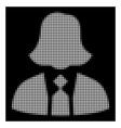 white halftone lady manager icon vector image vector image