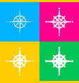 wind rose sign four styles of icon on four color vector image vector image