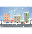 Winter cityscape Snowfall in small town vector image