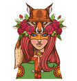 woman with a mask of a fox beautiful girl in a vector image vector image