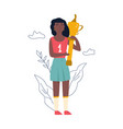 young athlete girl standing with a golden cup vector image