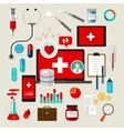 health medical icon set flat vector image