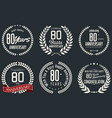 anniversary retro labels 80 years vector image vector image