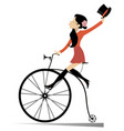 attractive young woman rides a vintage bike vector image vector image