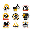 backhoe and excavator logo design set vector image