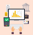 banking concept set of flat icon banking finance vector image vector image