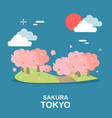 beautiful sakura tree sightseeing in tokyo design vector image vector image