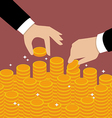 Business Hands Put Coin vector image