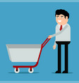 businessman with shopping trolley vector image vector image