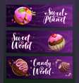 candy shop creative advertising banners set sweet vector image vector image