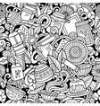 cartoon cute doodles hand drawn tea house seamless vector image