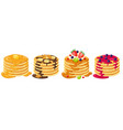 cartoon pancakes stacks tasty pancakes with vector image vector image